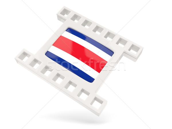 Película icono bandera Costa Rica aislado blanco Foto stock © MikhailMishchenko