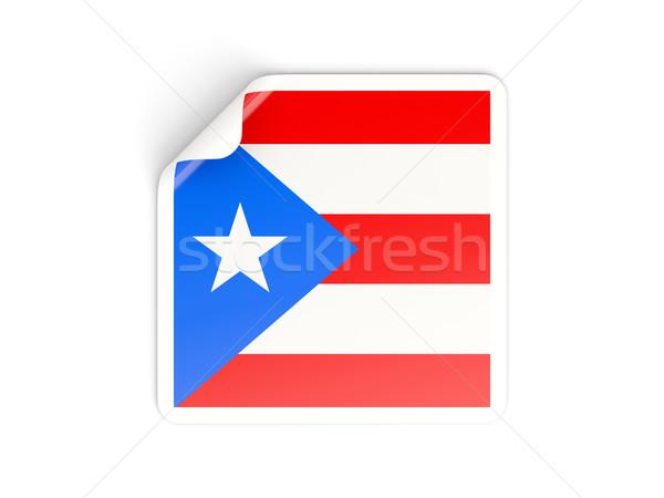 Vierkante sticker vlag Puerto Rico geïsoleerd witte Stockfoto © MikhailMishchenko