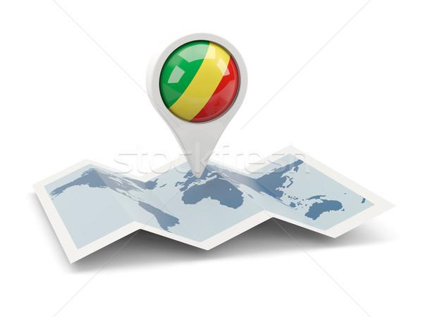 Pin bayrak cumhuriyet Kongo harita beyaz Stok fotoğraf © MikhailMishchenko