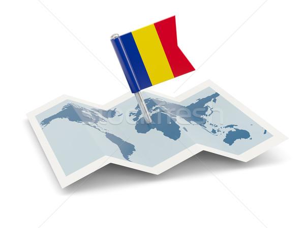 Mapa bandeira Romênia isolado branco viajar Foto stock © MikhailMishchenko