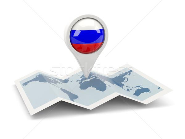Pin bandera Rusia mapa blanco país Foto stock © MikhailMishchenko