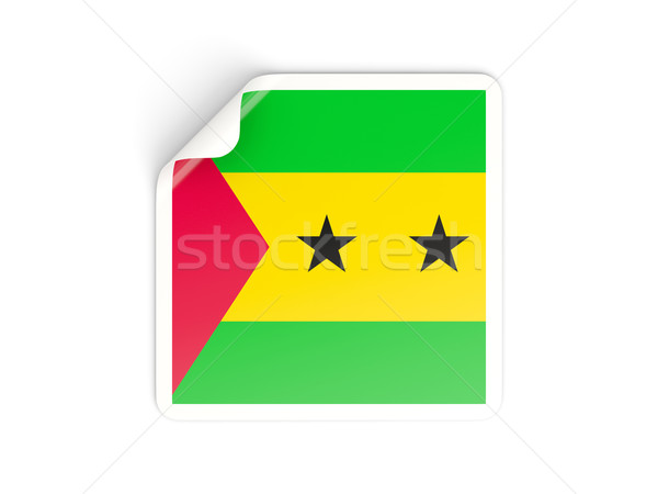 Square sticker with flag of sao tome and principe Stock photo © MikhailMishchenko