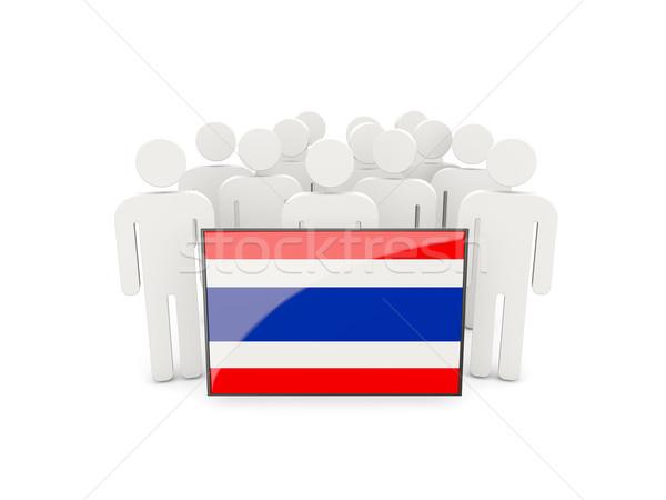 Personnes pavillon Thaïlande isolé blanche foule Photo stock © MikhailMishchenko