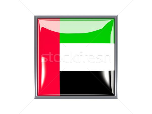 Praça ícone bandeira Emirados Árabes Unidos metal quadro Foto stock © MikhailMishchenko