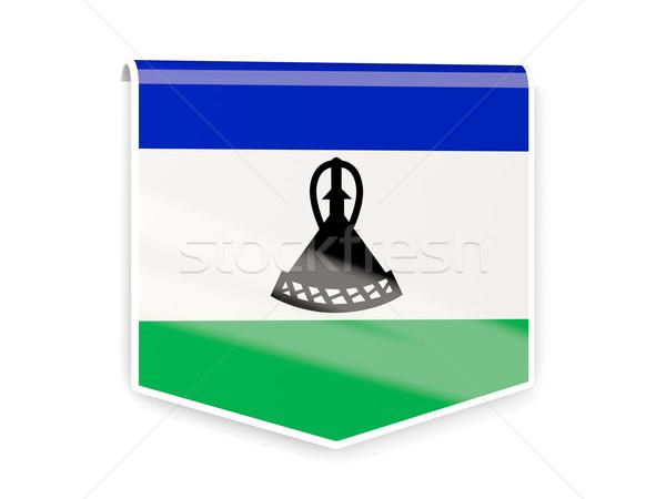 Pavillon étiquette Lesotho isolé blanche signe Photo stock © MikhailMishchenko