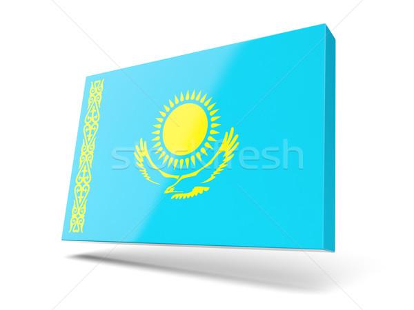 Praça ícone bandeira Cazaquistão isolado branco Foto stock © MikhailMishchenko