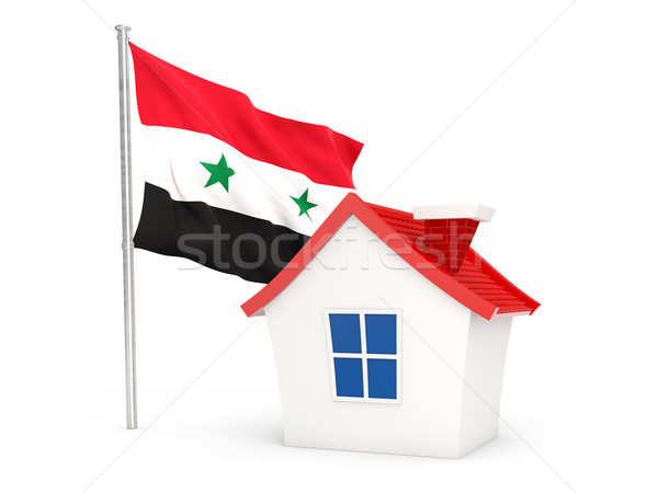 Casa bandeira Síria isolado branco casa Foto stock © MikhailMishchenko