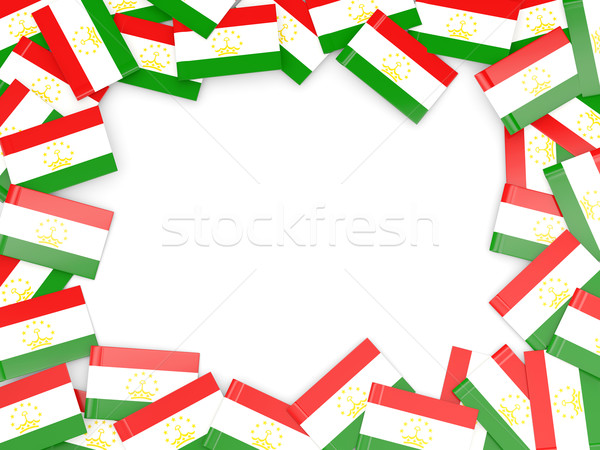 Keret zászló Tádzsikisztán izolált fehér Stock fotó © MikhailMishchenko