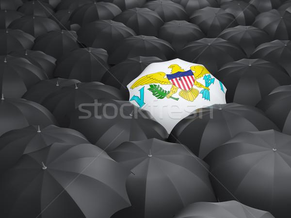 зонтик флаг Виргинские о-ва черный путешествия Сток-фото © MikhailMishchenko