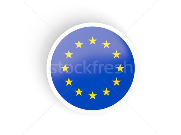 Round sticker with flag of european union Stock photo © MikhailMishchenko