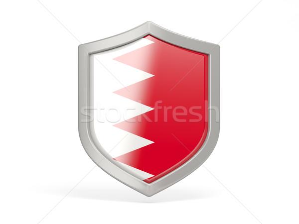 Escudo ícone bandeira Bahrein isolado branco Foto stock © MikhailMishchenko
