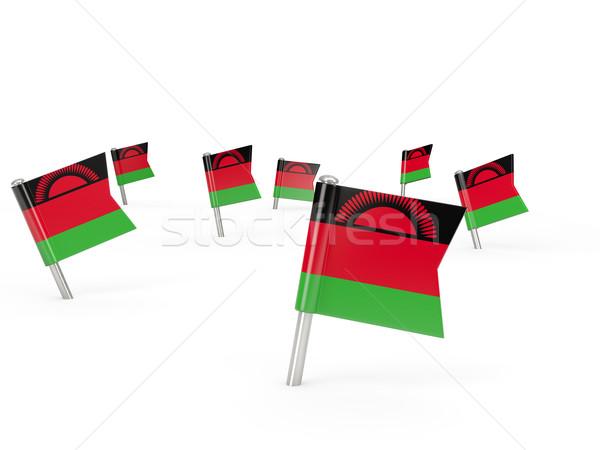 Vierkante vlag Malawi geïsoleerd witte land Stockfoto © MikhailMishchenko