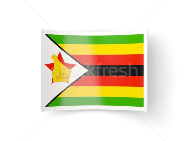 Icona bandiera Zimbabwe isolato bianco paese Foto d'archivio © MikhailMishchenko