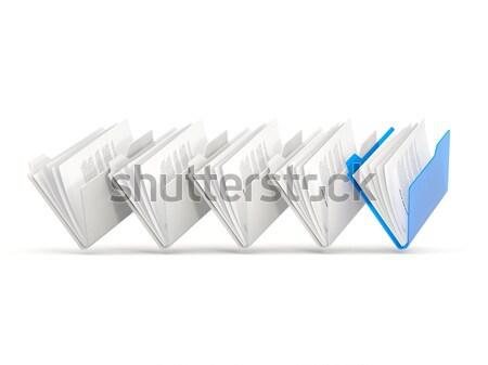 Kék mappák csetepaté izolált fehér üzlet Stock fotó © MikhailMishchenko