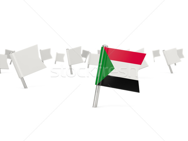 Square pin with flag of sudan Stock photo © MikhailMishchenko