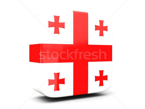 квадратный икона флаг Грузия 3d иллюстрации изолированный Сток-фото © MikhailMishchenko