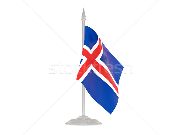 Flag of iceland with flagpole. 3d render Stock photo © MikhailMishchenko