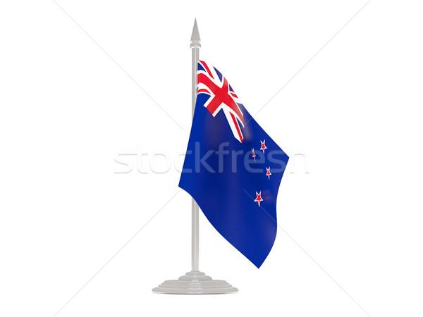 флаг Новая Зеландия флагшток 3d визуализации изолированный белый Сток-фото © MikhailMishchenko