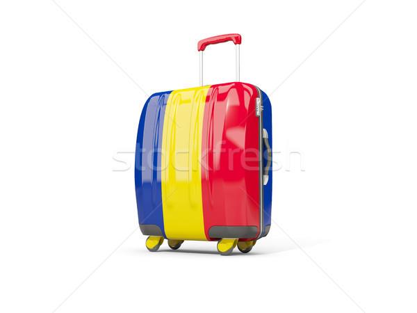 Luggage with flag of romania. Suitcase isolated on white Stock photo © MikhailMishchenko