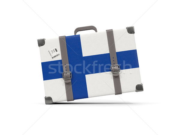 Камера флаг Финляндия чемодан изолированный белый Сток-фото © MikhailMishchenko
