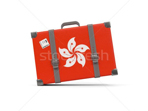 Luggage with flag of hong kong. Suitcase isolated on white Stock photo © MikhailMishchenko