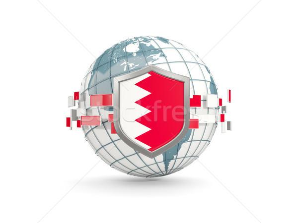 Globo escudo bandeira Bahrein isolado branco Foto stock © MikhailMishchenko