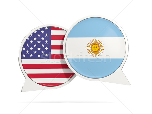 Chat bubbles of USA and Argentina isolated on white Stock photo © MikhailMishchenko