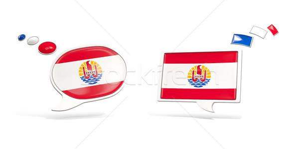 Due chat icone bandiera francese polinesia Foto d'archivio © MikhailMishchenko