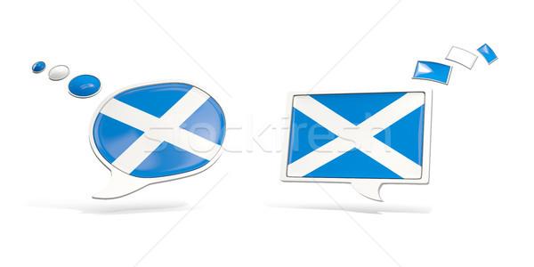Iki sohbet simgeler bayrak İskoçya kare Stok fotoğraf © MikhailMishchenko