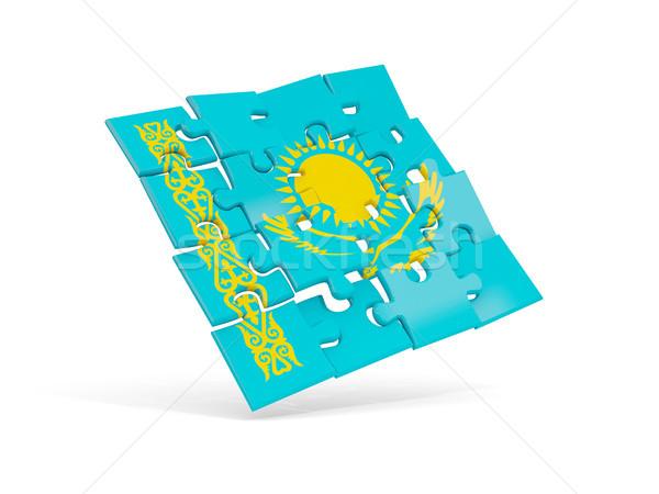головоломки флаг Казахстан изолированный белый 3d иллюстрации Сток-фото © MikhailMishchenko