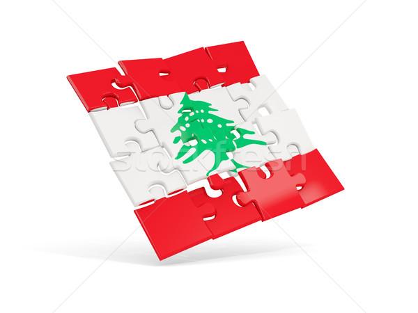 ストックフォト: パズル · フラグ · レバノン · 孤立した · 白 · 3次元の図