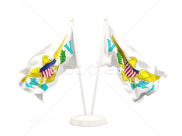 Two waving flags of virgin islands us Stock photo © MikhailMishchenko