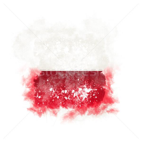 Kare grunge bayrak Polonya 3d illustration bağbozumu Stok fotoğraf © MikhailMishchenko