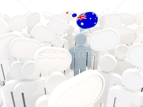 Człowiek banderą Australia tłum 3d ilustracji podpisania Zdjęcia stock © MikhailMishchenko
