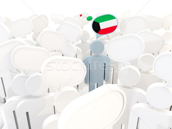 Man vlag Koeweit menigte 3d illustration reizen Stockfoto © MikhailMishchenko