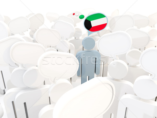 Homem bandeira Kuweit multidão ilustração 3d viajar Foto stock © MikhailMishchenko