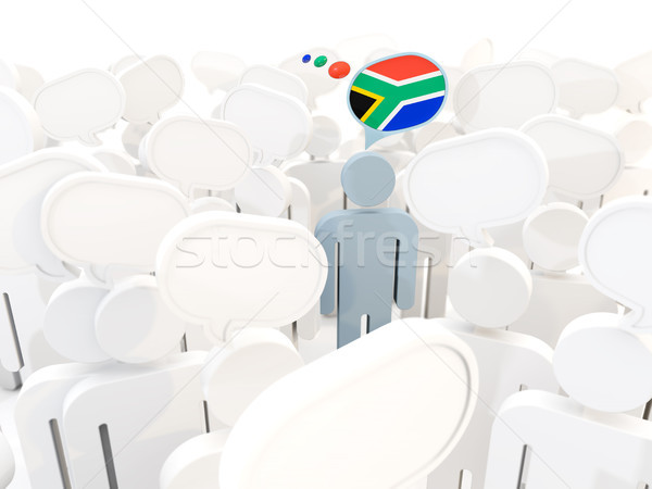 Man with flag of south africa in a crowd Stock photo © MikhailMishchenko