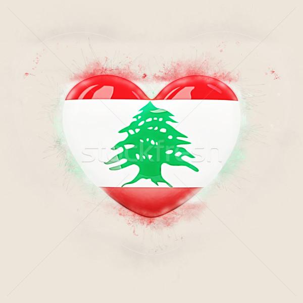 Szív zászló Libanon grunge 3d illusztráció utazás Stock fotó © MikhailMishchenko