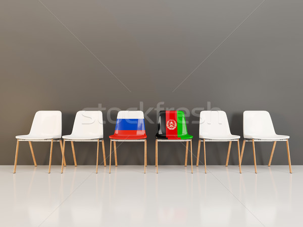 Chairs with flag of Russia and afghanistan Stock photo © MikhailMishchenko