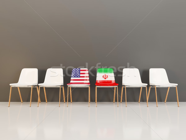 Chairs with flag of usa and iran Stock photo © MikhailMishchenko