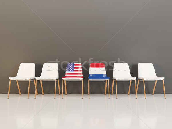 Chairs with flag of usa and netherlands Stock photo © MikhailMishchenko