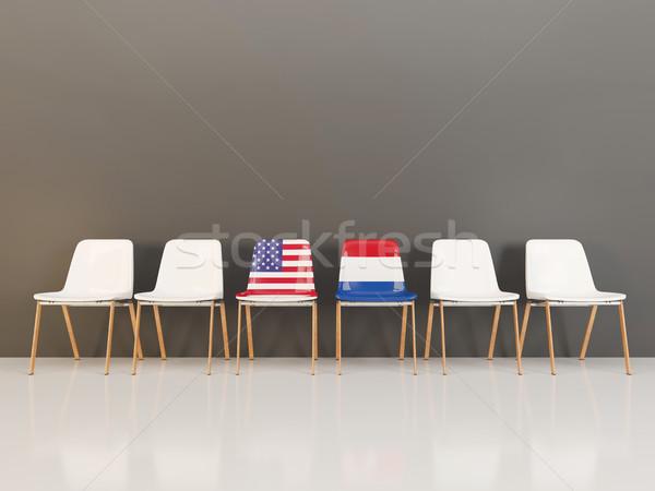 Stoelen vlag USA Nederland rij 3d illustration Stockfoto © MikhailMishchenko