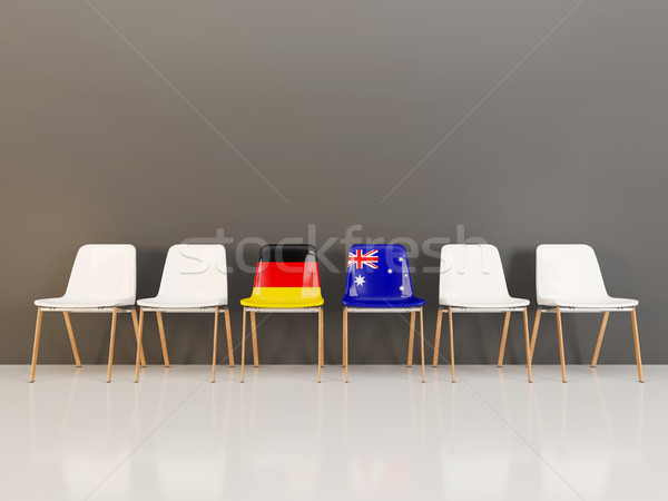 Chairs with flag of Germany and australia in a row Stock photo © MikhailMishchenko