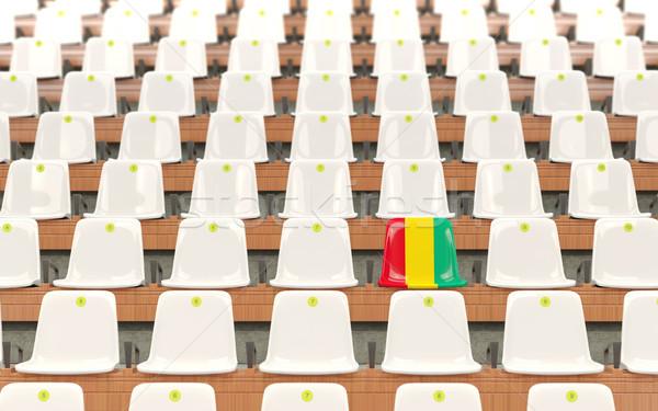 ストックフォト: スタジアム · 座席 · フラグ · ギニア · 白
