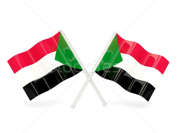 Zászló Szudán kettő hullámos zászlók izolált Stock fotó © MikhailMishchenko