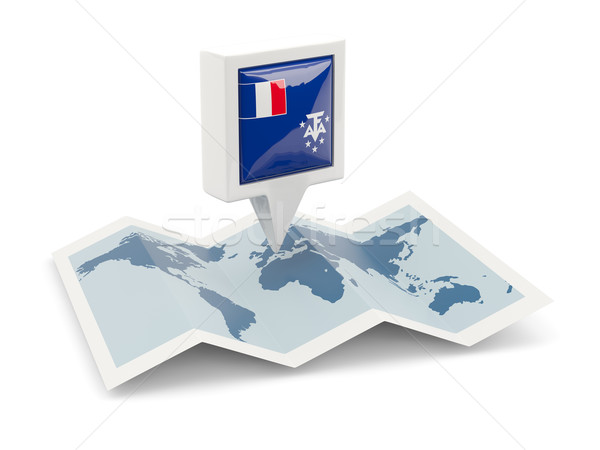 Square pin with flag of french southern territories on the map Stock photo © MikhailMishchenko
