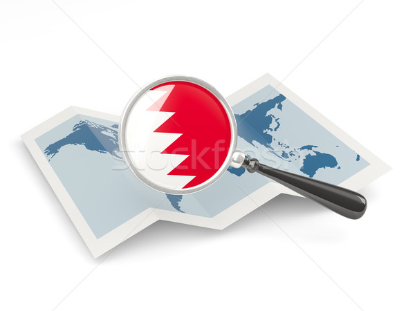 Magnified flag of bahrain with map Stock photo © MikhailMishchenko