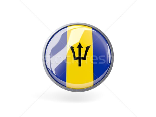 ícone bandeira Barbados metal quadro viajar Foto stock © MikhailMishchenko