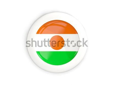 Icono bandera Níger metal marco viaje Foto stock © MikhailMishchenko