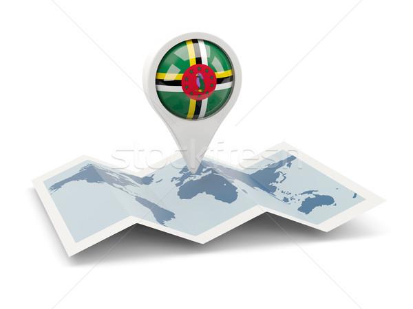 Pin флаг Доминика карта путешествия белый Сток-фото © MikhailMishchenko